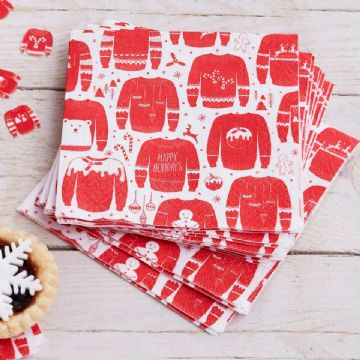 Festive Red & White Christmas Jumper Napkins - pack of 20, small